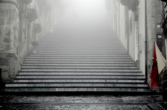 foggy stairs